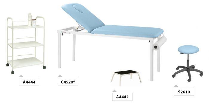 Pack mobilier PACK01 Ecopostural Table de massage fixe C4520