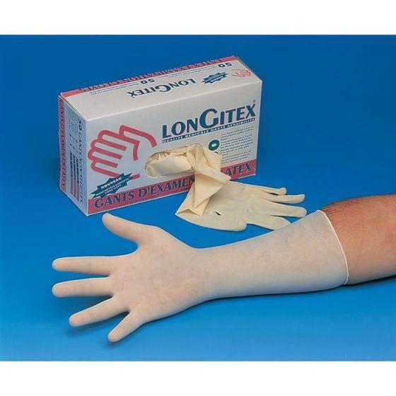 50 LONGITEX LCH 300 gepoederde latex onderzoekshandschoenen met lange mouwen