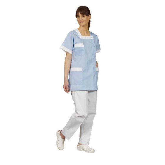 Tunique médicale femme Tilly bleu parement blanc Mulliez