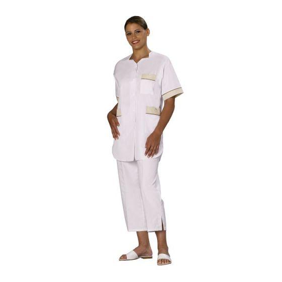 Tunique médicale femme Tivry blanc parement tan passepoil tan Mulliez