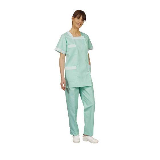Tunique médicale femme Tilly vert parement rayé vert Mulliez