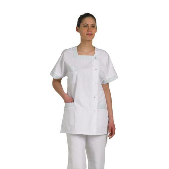 Tunique médicale femme Tilly blanc parement rayé vert Mulliez